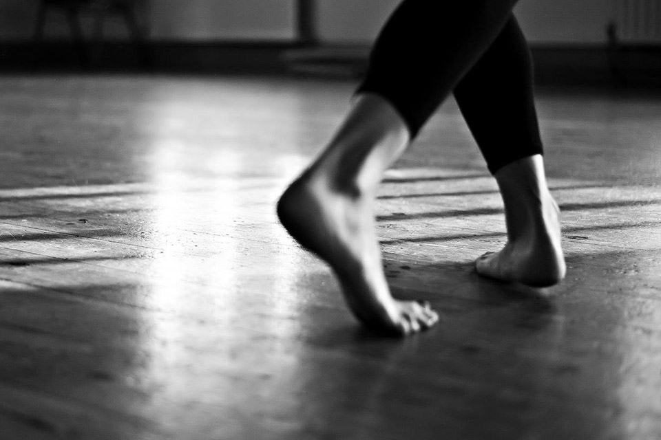 Close up of feet during Free Dance class